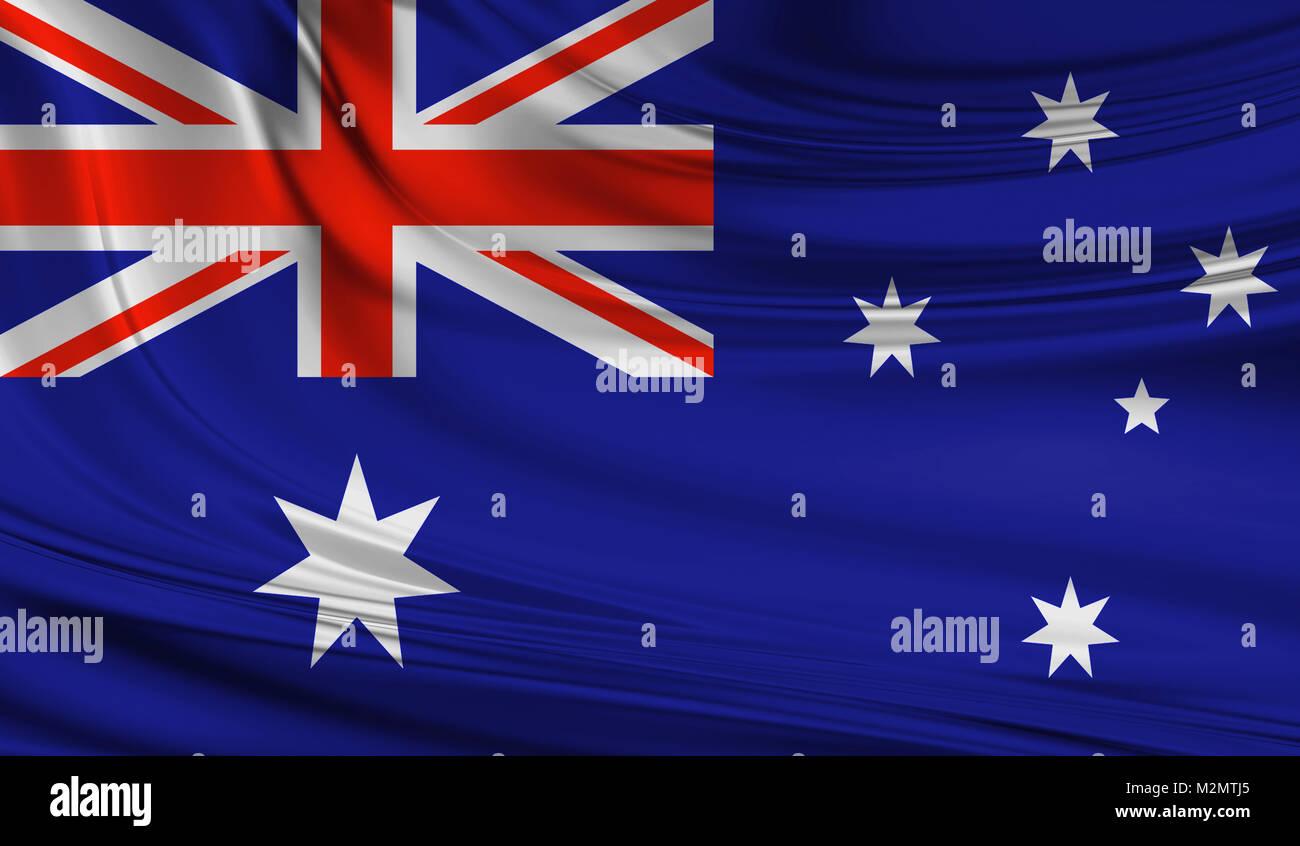 National waving flag of Australia on a silk drape - Stock Image