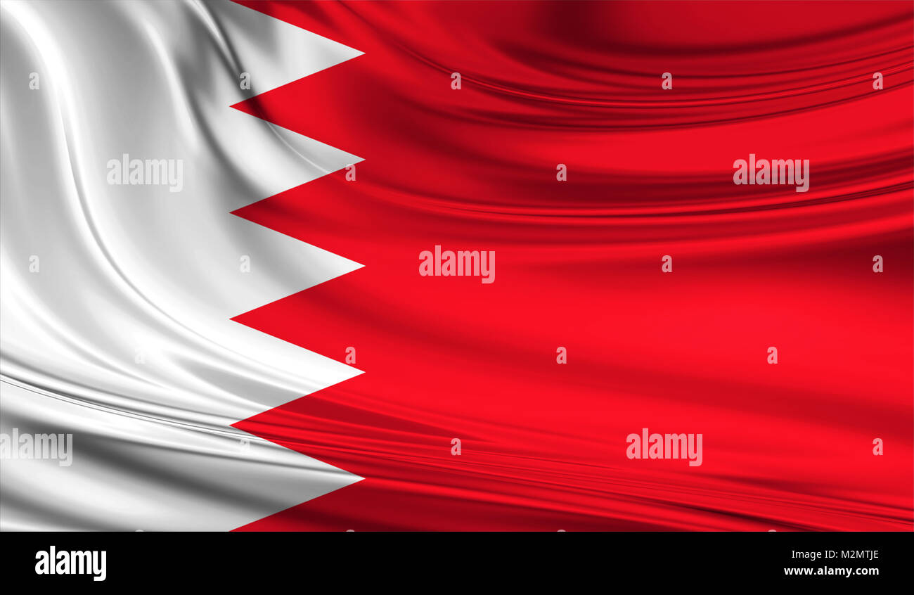 National waving flag of Bahrain on a silk drape - Stock Image
