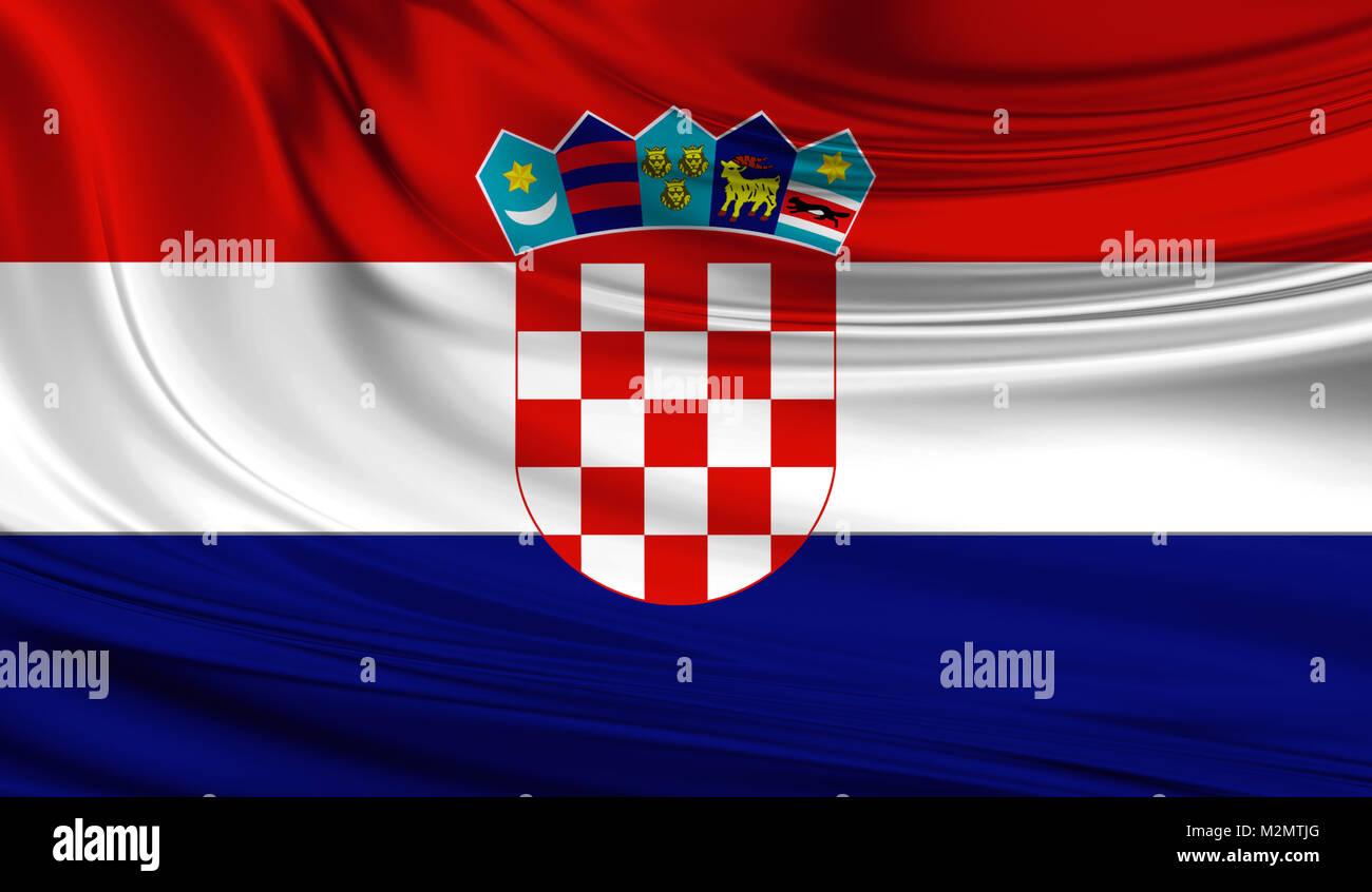 National waving flag of Croatia on a silk drape - Stock Image