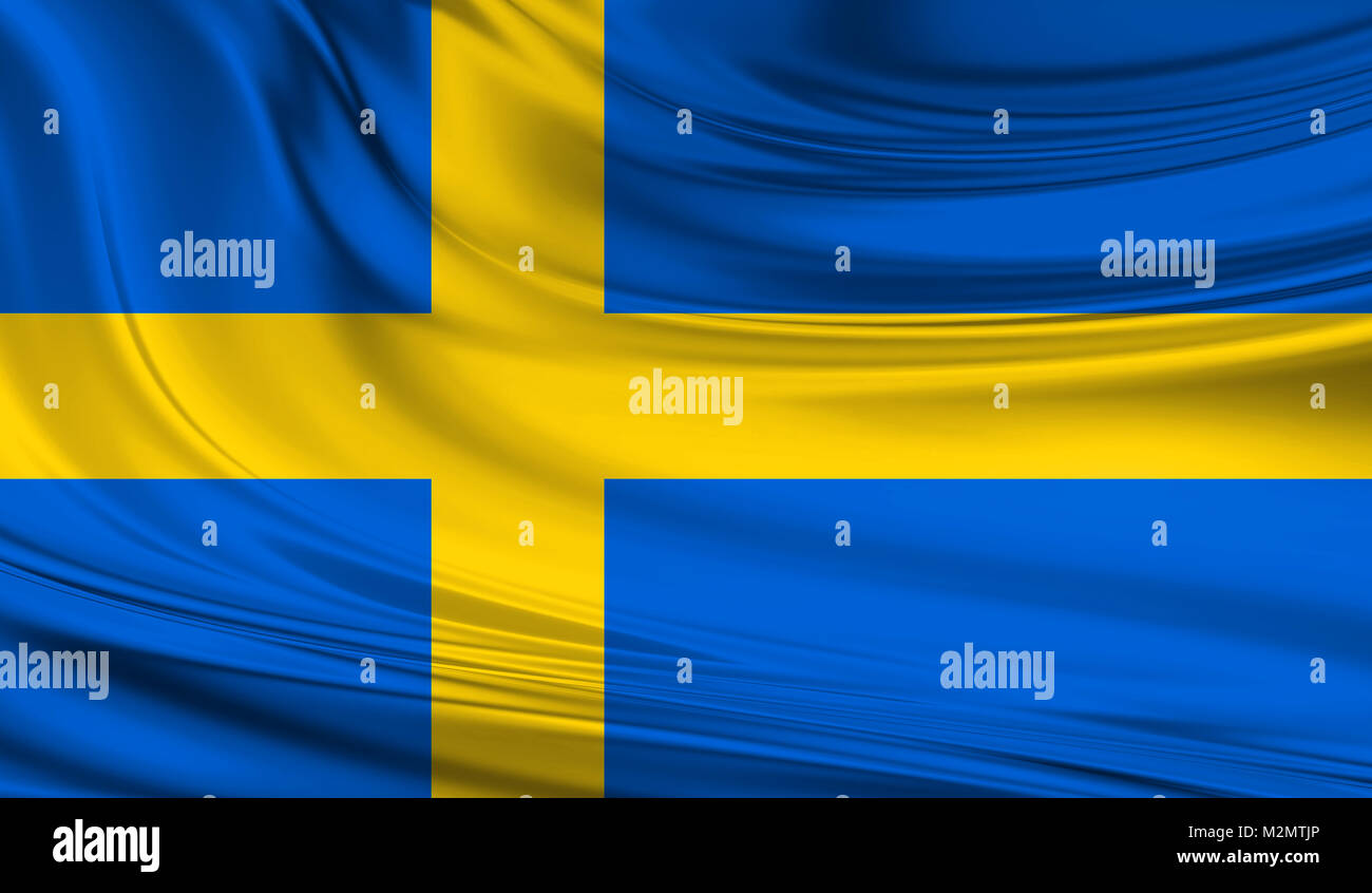National waving flag of Sweden on a silk drape - Stock Image