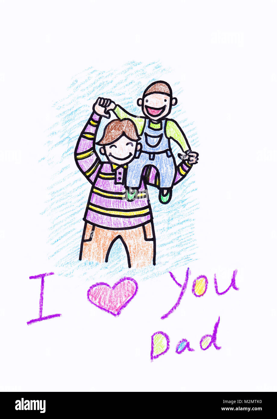 Kids crayon drawing of a Father's Day card, with a white background and copy space - Stock Image