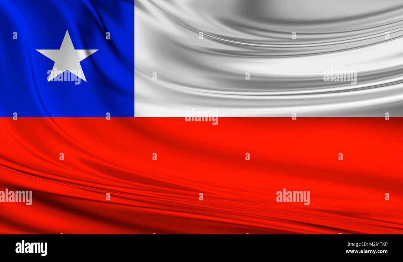 National waving flag of Chile on a silk drape - Stock Image