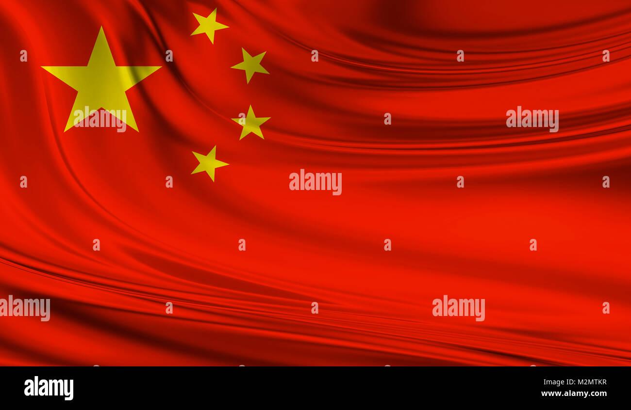 National waving flag of China on a silk drape - Stock Image