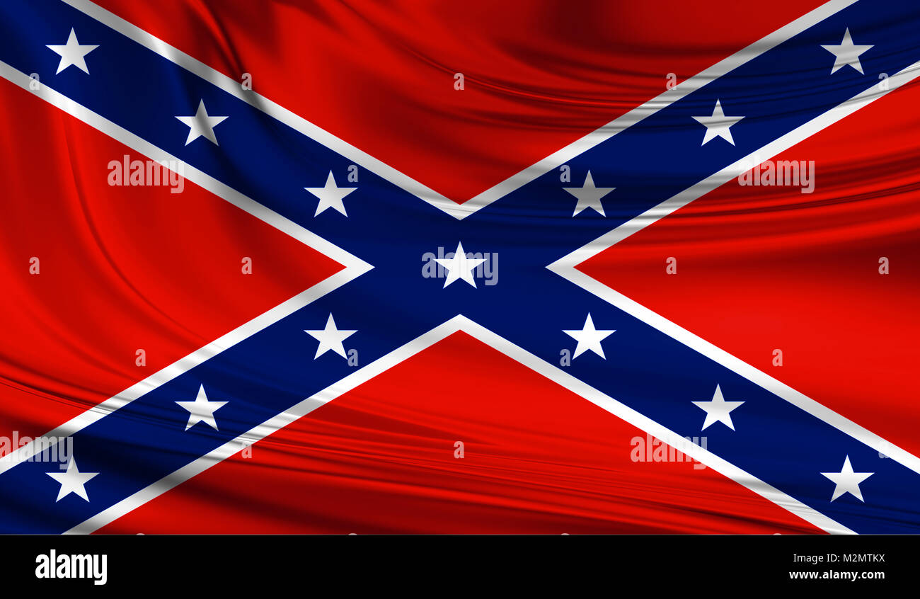 National waving flag of he Confederate States of America on a silk drape. Use of Confederate flag has under some - Stock Image
