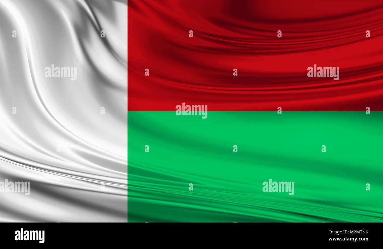 National waving flag of Madagascar on a silk drape - Stock Image