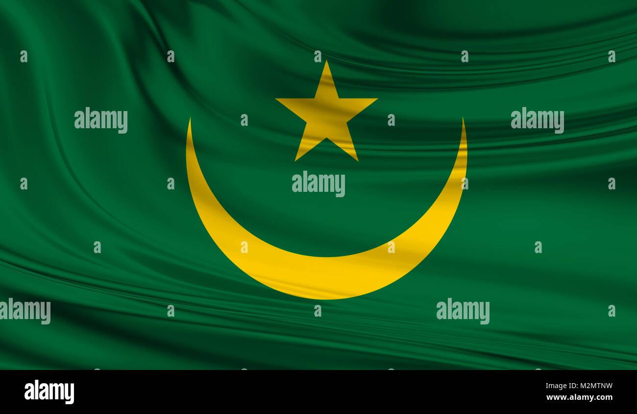 National waving flag of Mauritania on a silk drape - Stock Image