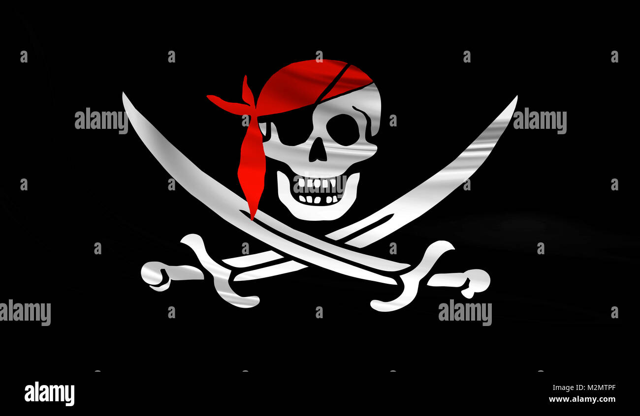 Jolly Roger pirate waving flag with skull and swords with red bandana on a silk drape - Stock Image