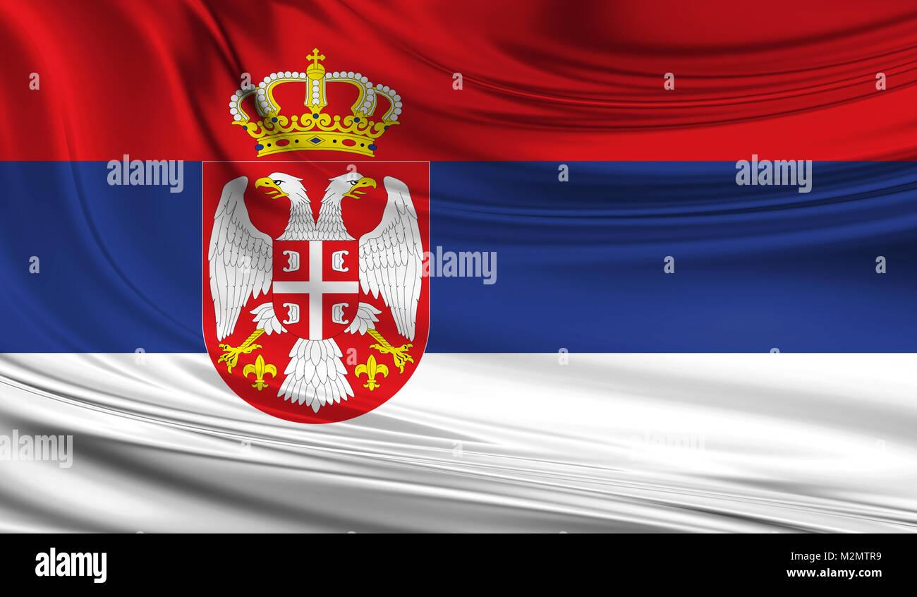 National waving flag of Serbia on a silk drape - Stock Image
