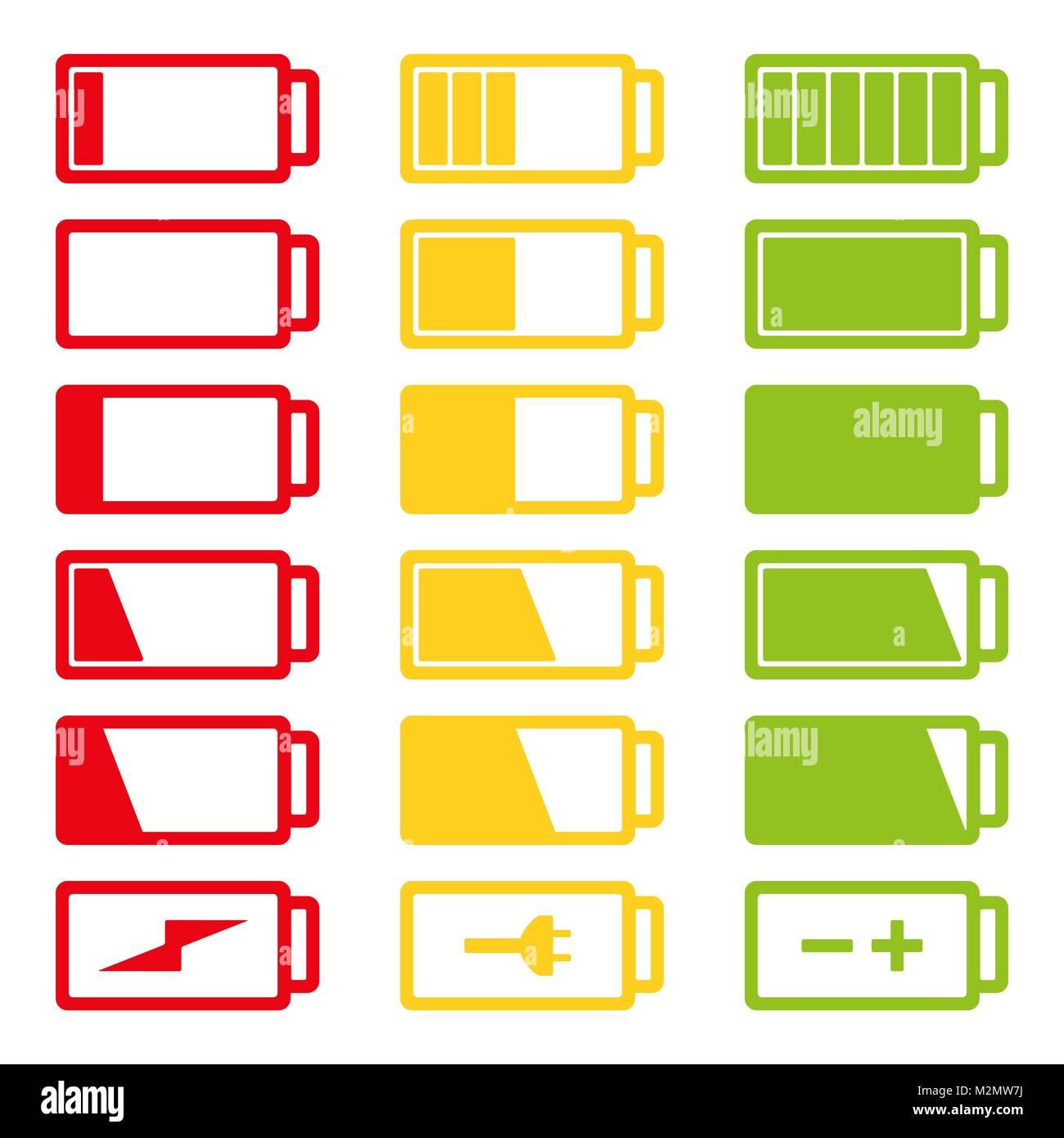 Battery flat icon set vector illustration isolated on white background eps10. Symbols of battery charge level, full - Stock Vector