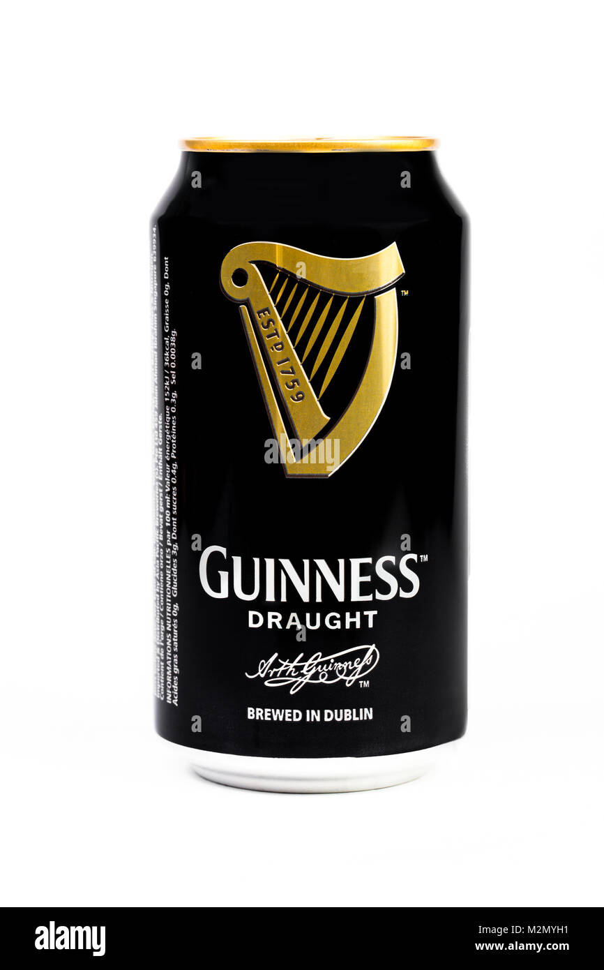 Trieste, Italy July 08 2016,Guinness stout aluminum can on the white background. Irish dry stout originated in the - Stock Image