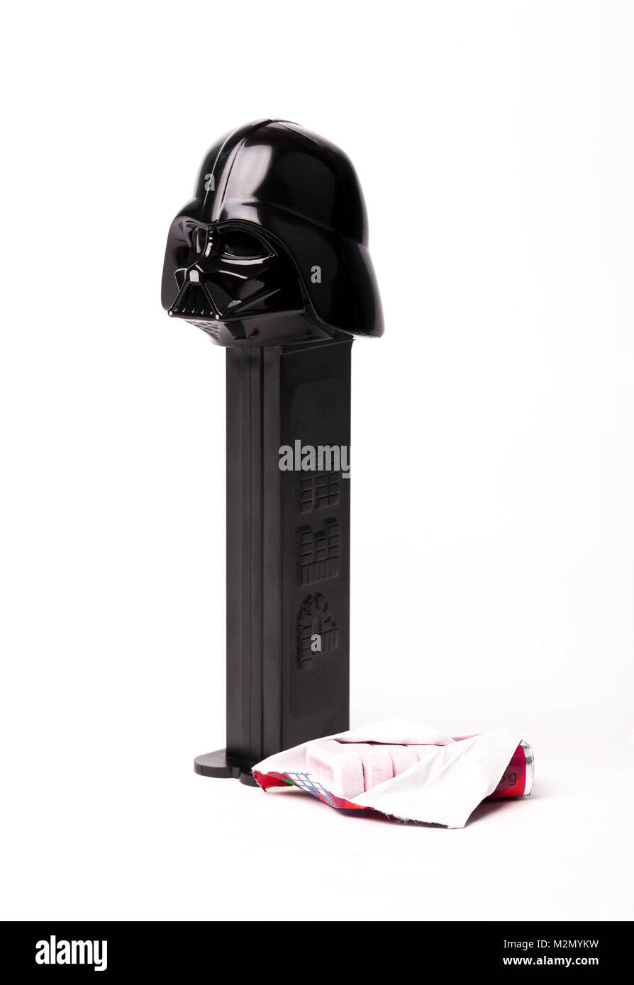 Trieste, Italy July 08 2016: Limited Edition of Star Wars Darth Vader Dispenser of Candy Pez. Pez is a famous pocket - Stock Image
