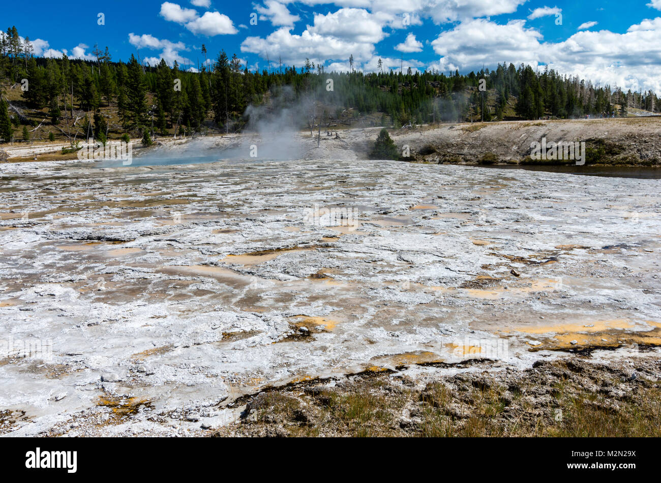 Geyserite flow from Oblong Geyser in the Upper Geyser Basin.  Yellowstone National Park, Wyoming, USA - Stock Image