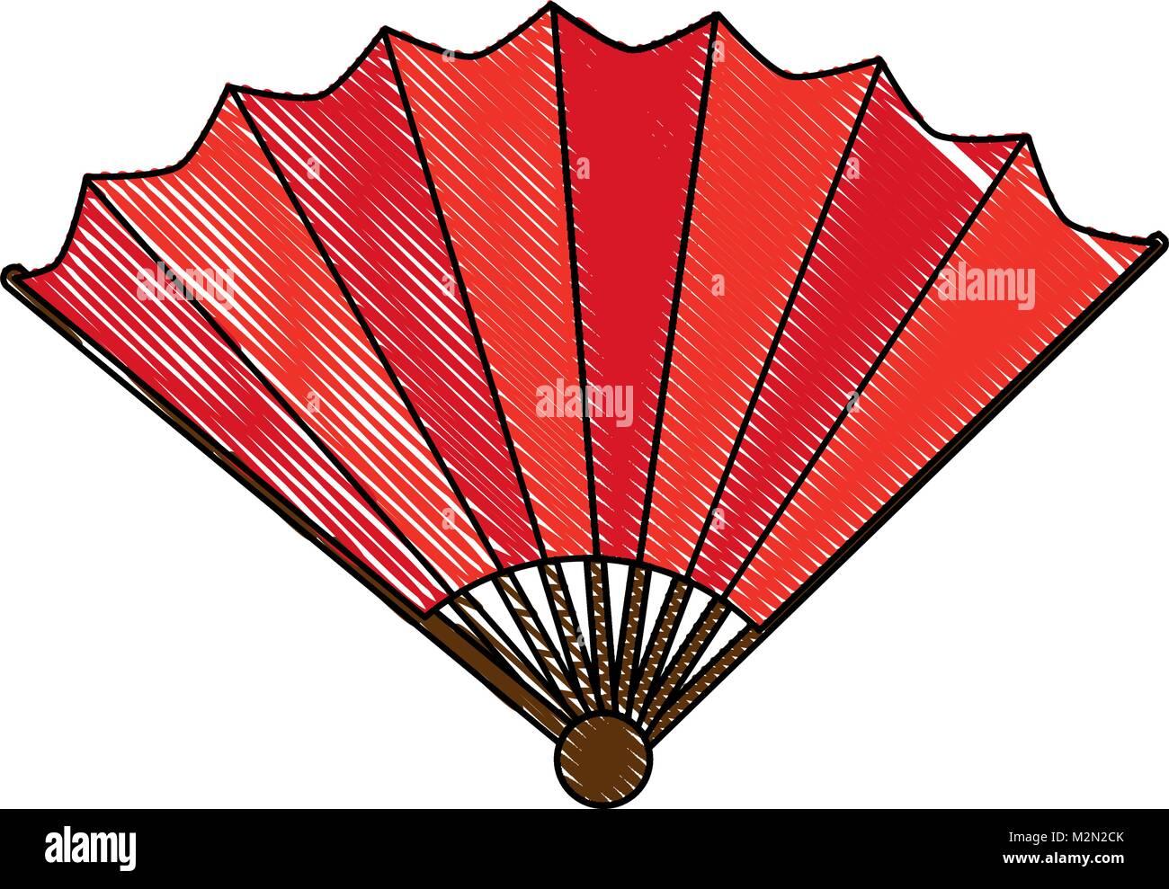 chinese fan decorative icon - Stock Vector