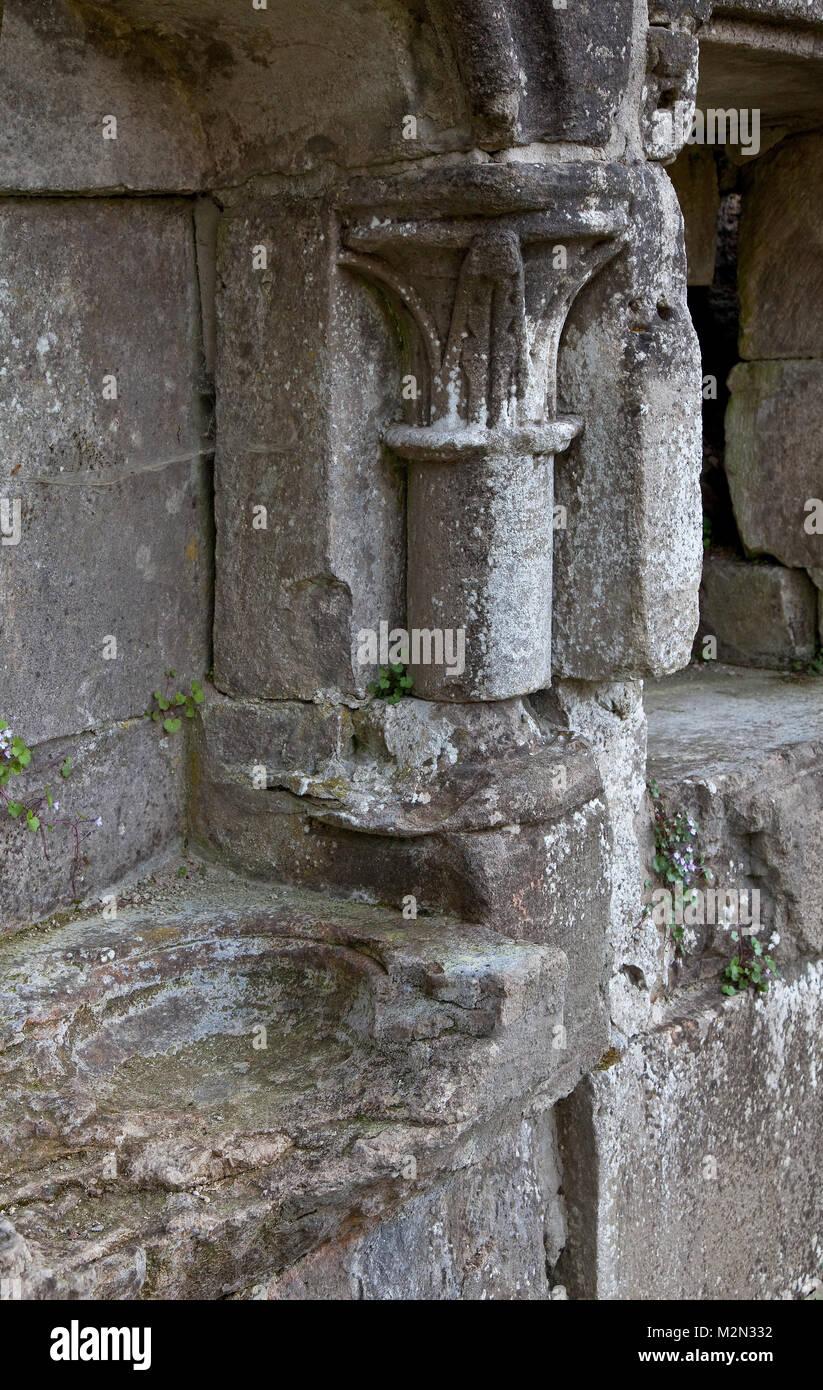 Walkenried Ruine der Klosterkirche Piscine links und Kredenz rechts in der südlichen Chorwand - Stock Image