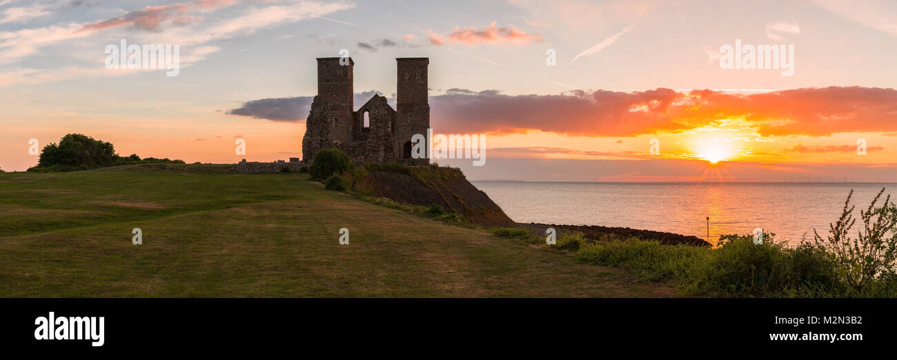Reculver Towers and Roman Fort Sunset Stock Photo