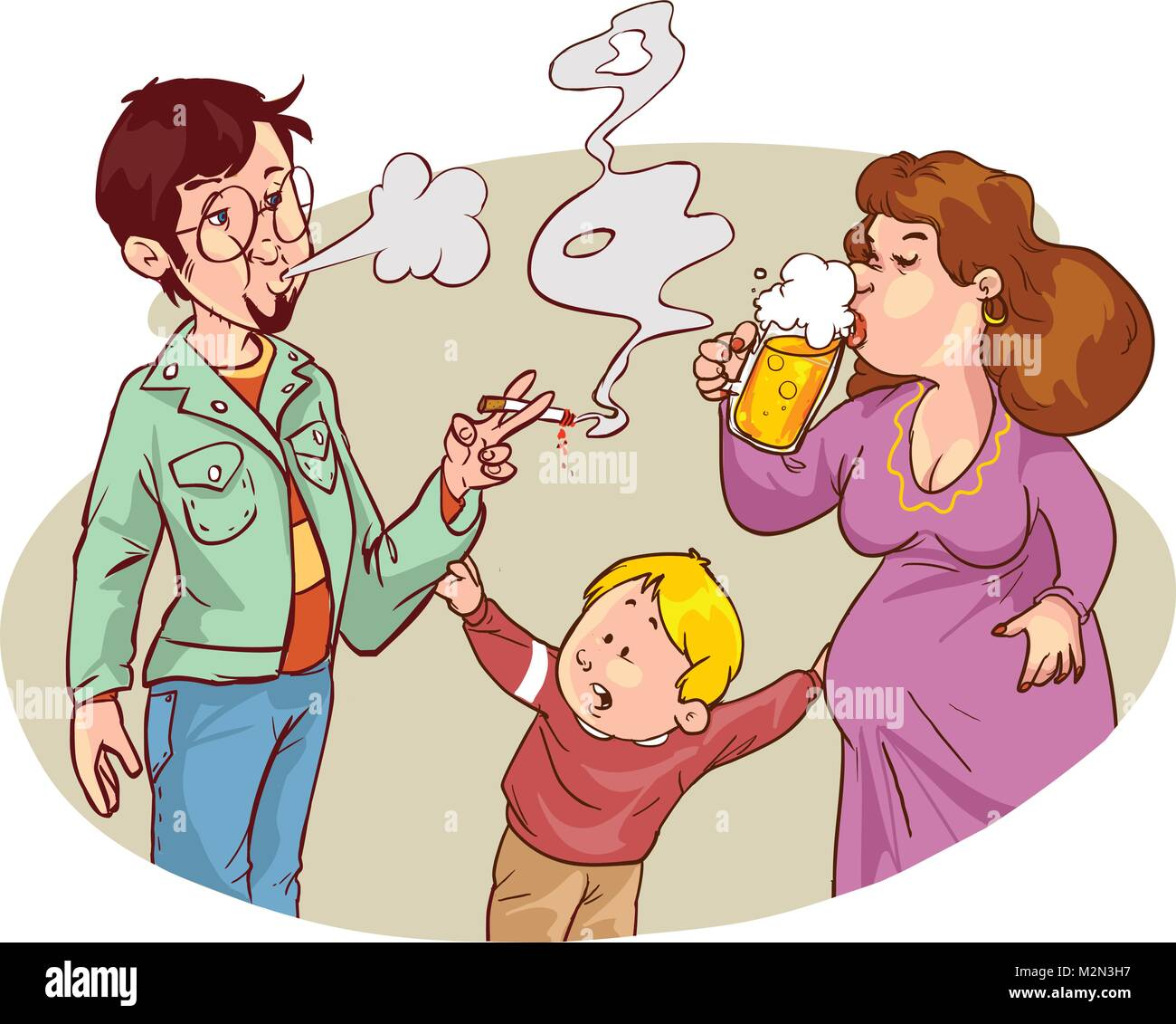 Child s drawing of him and his parents with alcohol and smoking addictions - Stock Vector