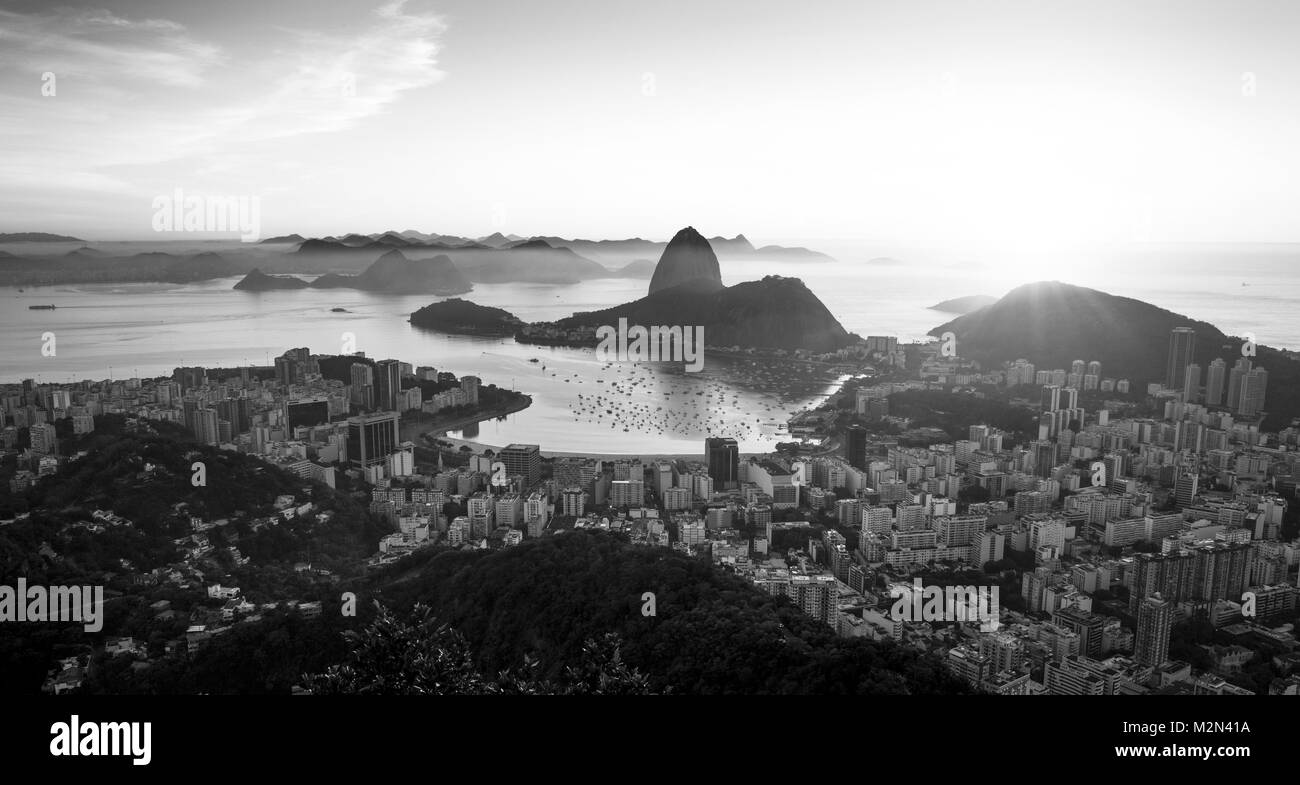 Panorama of rio de janeiro city and sugarloaf mountain brazil stock image