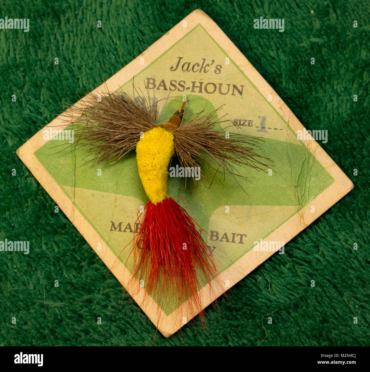 Jack's Bass-Houn,   a large deer hair floating fly, made by Marathon Bait Company, in Wausuau, Wisconsin.   Hook: Stock Photo