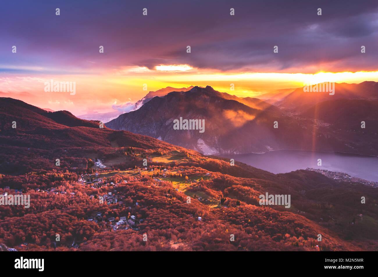 Mountain sunset - Stock Image