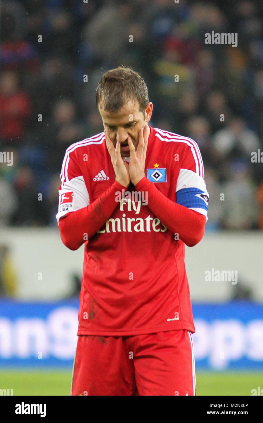 Fussball, 1. Bundesliga, TSG 1899 Hoffenheim - Hamburger SV, Rafael van der Vaart (Hamburger SV, HSV), enttäuscht Stock Photo