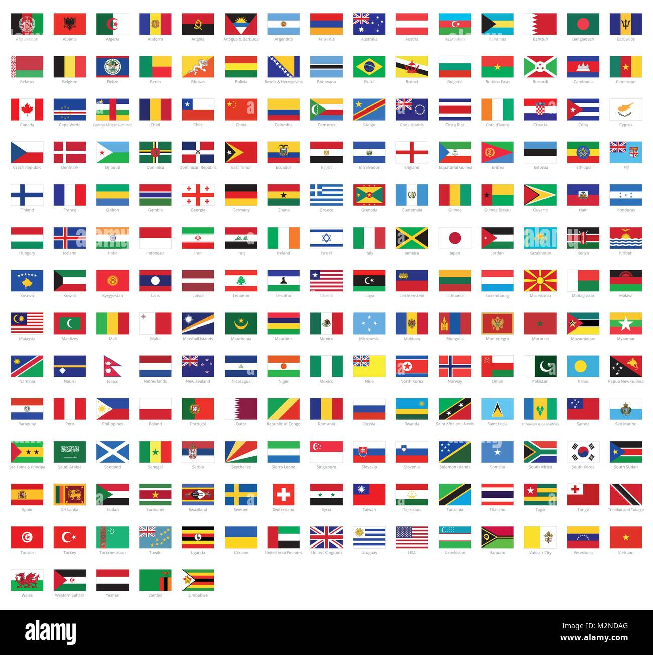 All national flags from all over the world with names - high quality vector flag isolated on white background - Stock Image