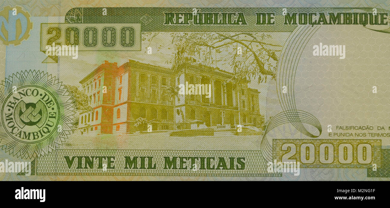 Mozambique Twenty thousand 20,000 Metical Bank Note - Stock Image