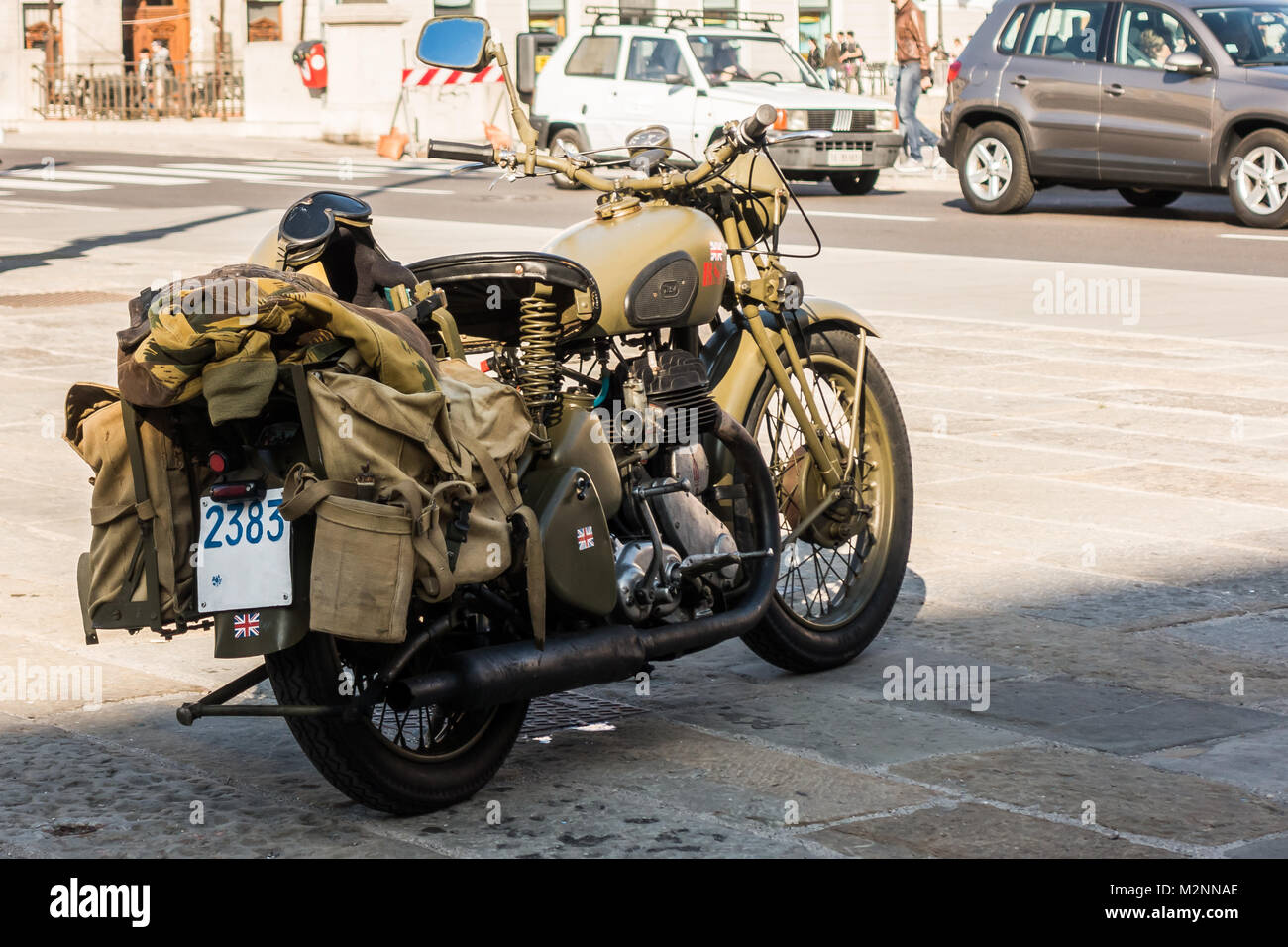 Trieste, Italy - March 31, 2017: Photo of BSA M20 motorcycles were used