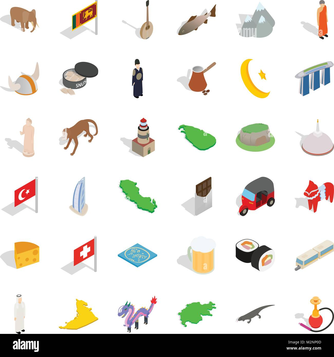 Younger icons set, isometric style - Stock Vector