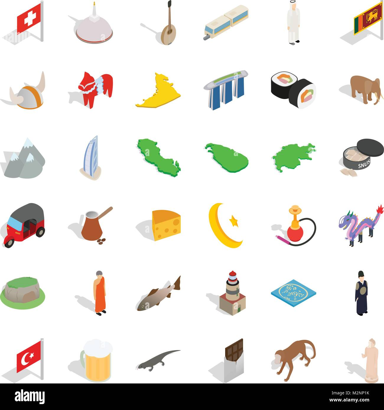 Juvenile icons set, isometric style - Stock Vector