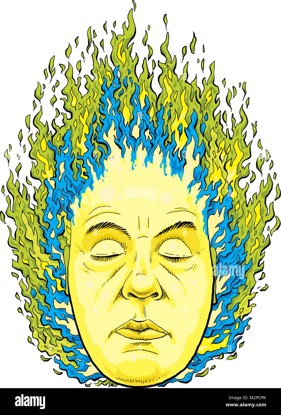 Green and blue magic fire burn brightly from the head of a mystical man. Stock Vector