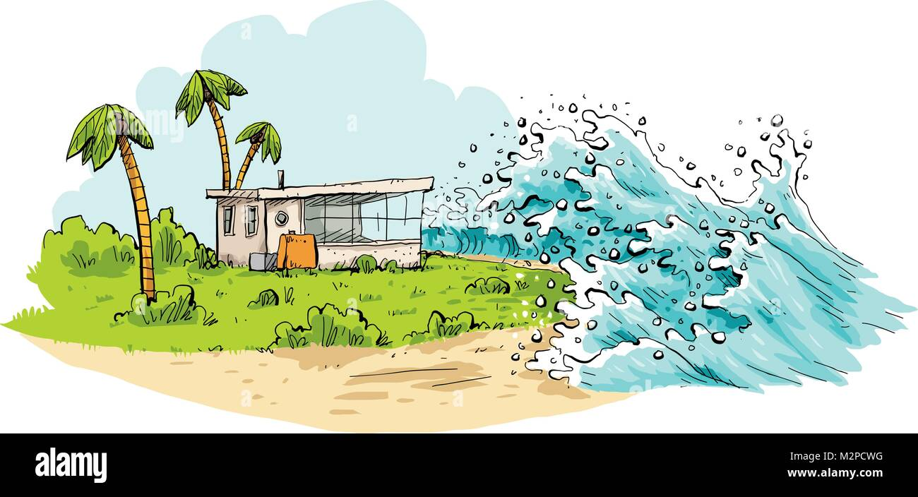 Cartoon of a relaxing tropical vacation destination being swamped by huge tsunami waves coming over a beach. - Stock Vector