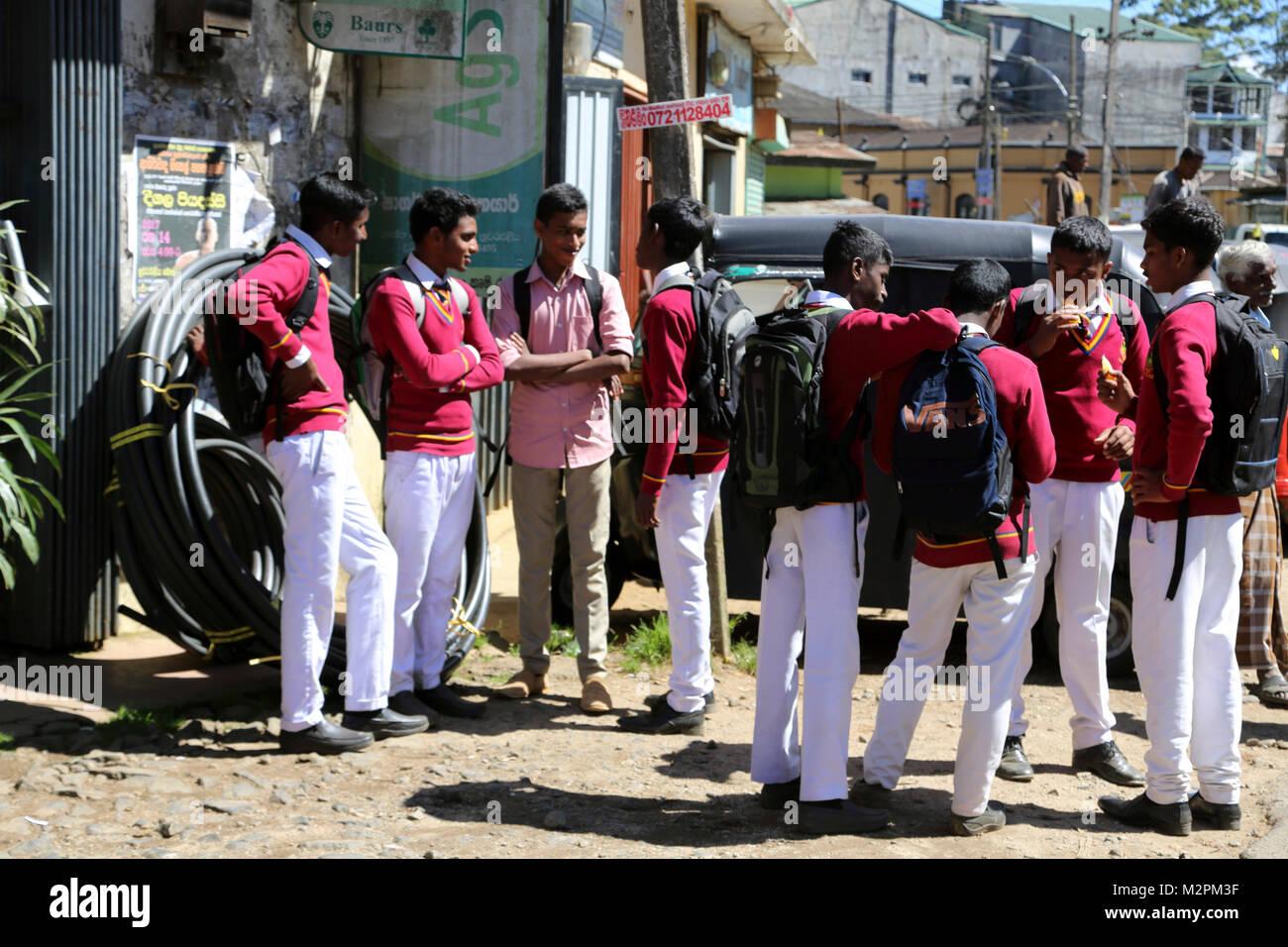 Nuwara Eliya Hill Country Central Province Sri Lanka Group of School Children - Stock Image