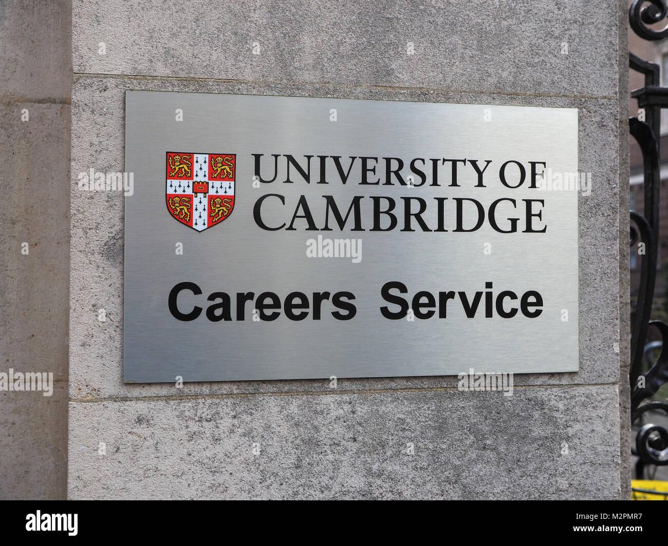 University of Cambridge Careers Service sign Stock Photo