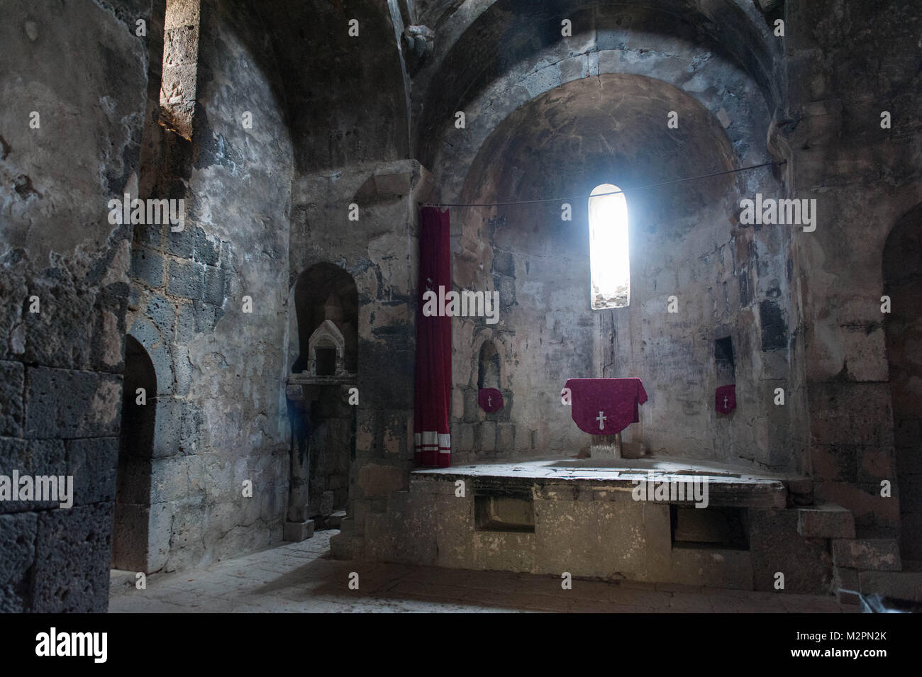 Sanahin Monastery is an Armenian monastery founded in the 10th century in the Lori Province of Armenia. The name - Stock Image