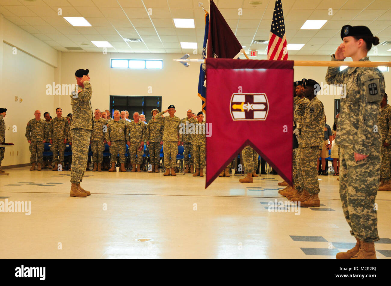 Lt. Col. Michael Pullen, Commander of Troops, and Soldiers of the 807th MDSC render honors to the nation during - Stock Image