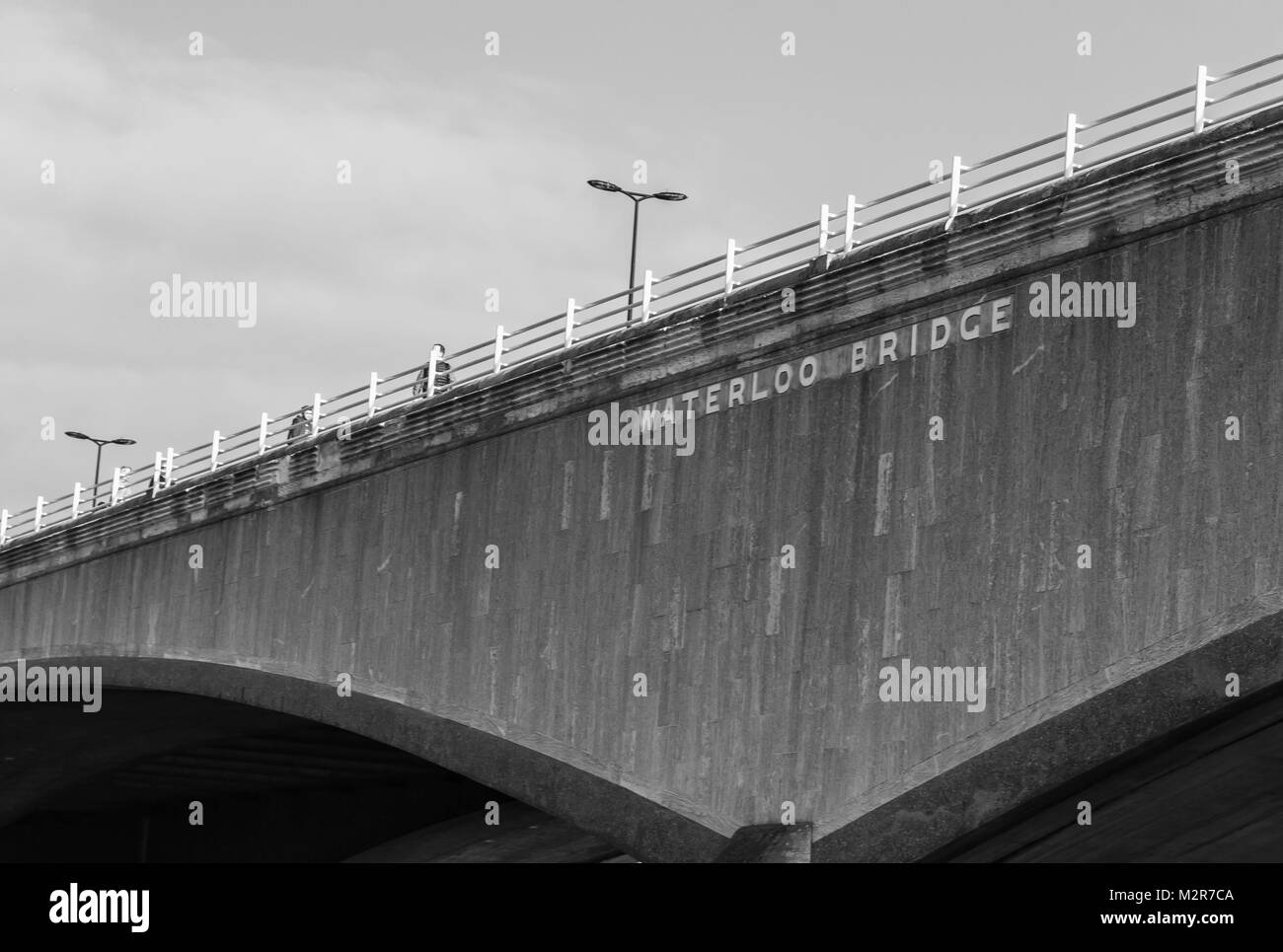 Waterloo Bridge - inscription on the famous bridge s/w - Stock Image