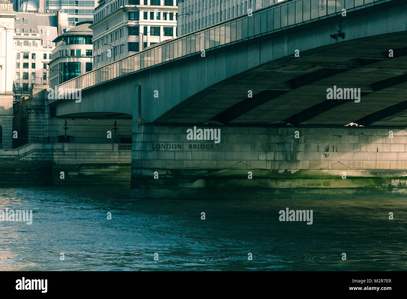 The London Bridge - inscription in stone- London, England, Great Britain, - Stock Image