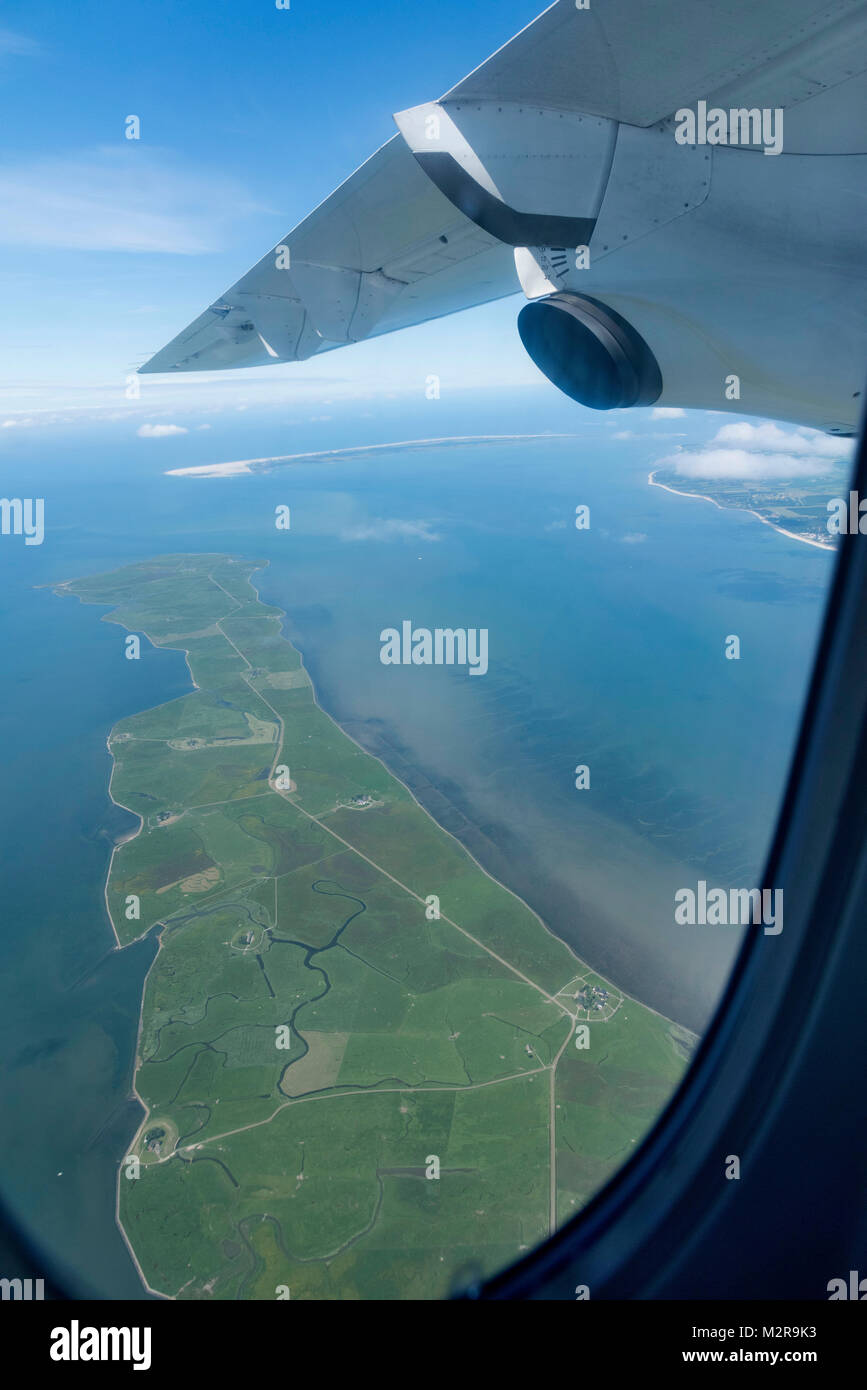 Airplane in the air, view to the airplane window - Stock Image