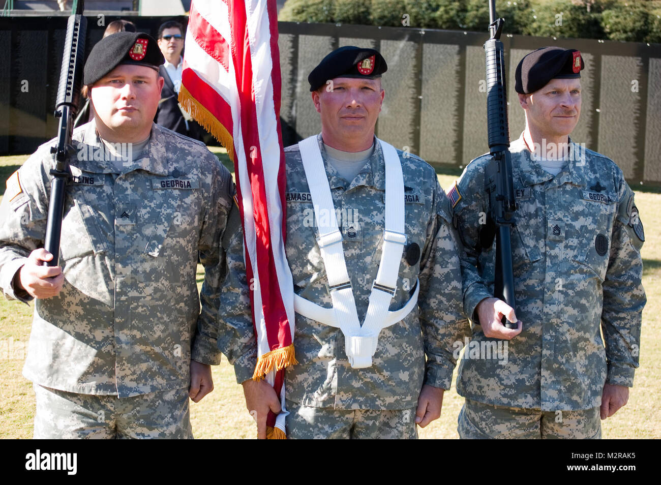 From left to right, CPL Anthony Rollins, SFC Robert Damaschke and SFC Chris Briarley of the Georgia State Defense - Stock Image