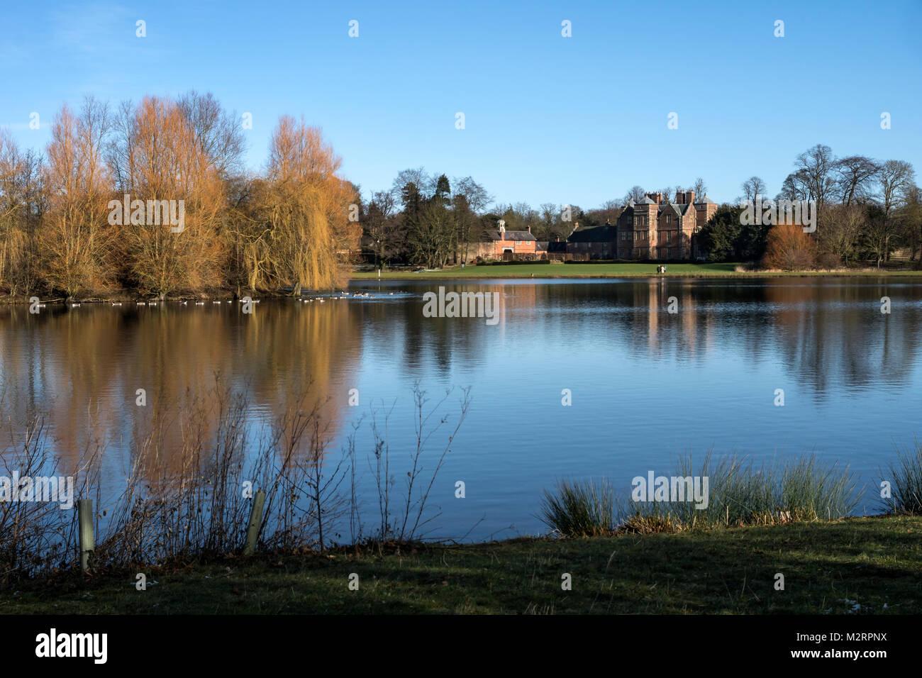 Kiplin Hall, North Yorkshire. Seen from the fishing lake. Stock Photo