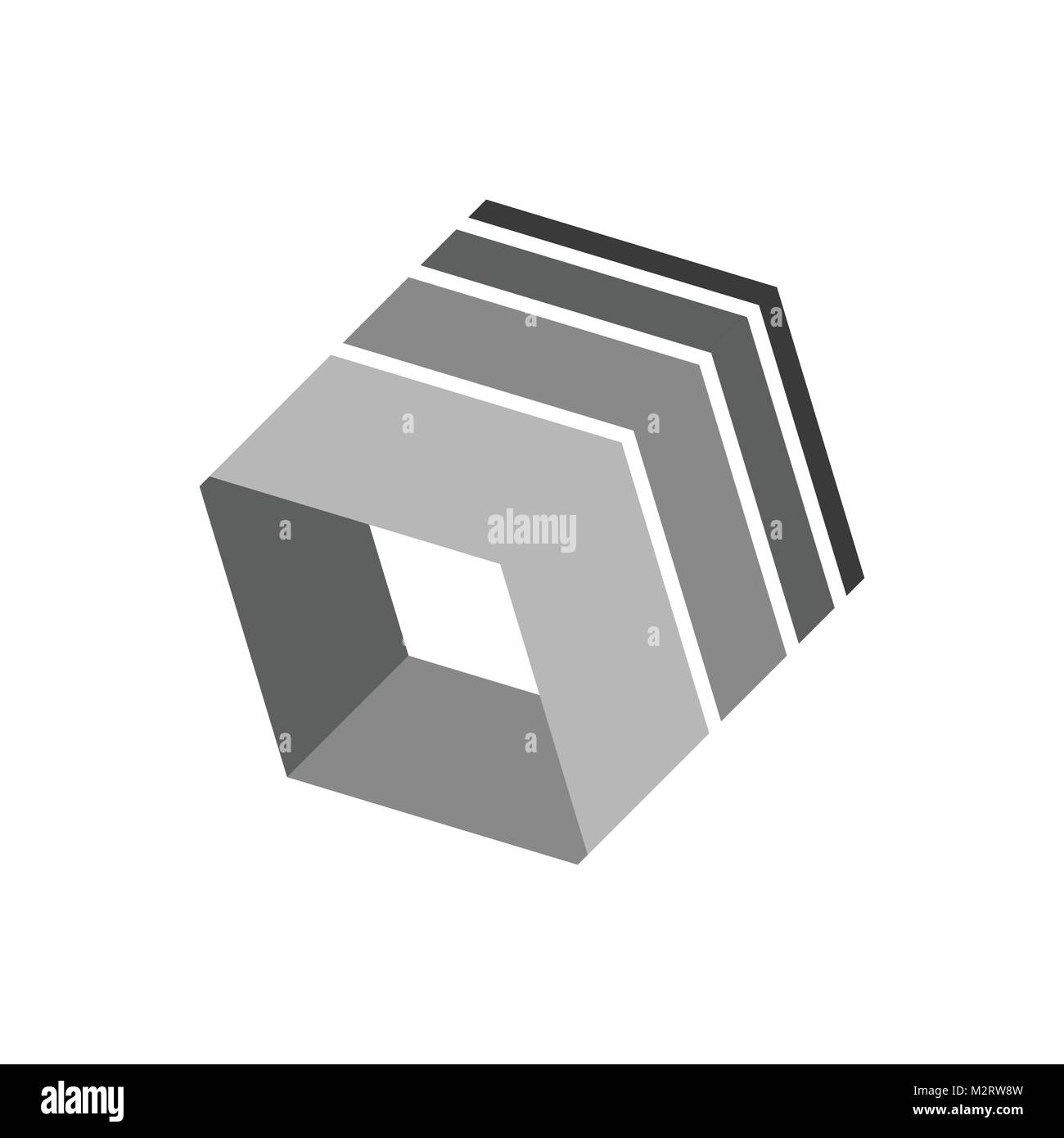 3 Dimensional Box Shape Abstract Corporate Symbol Vector Illustration Graphic Design - Stock Vector