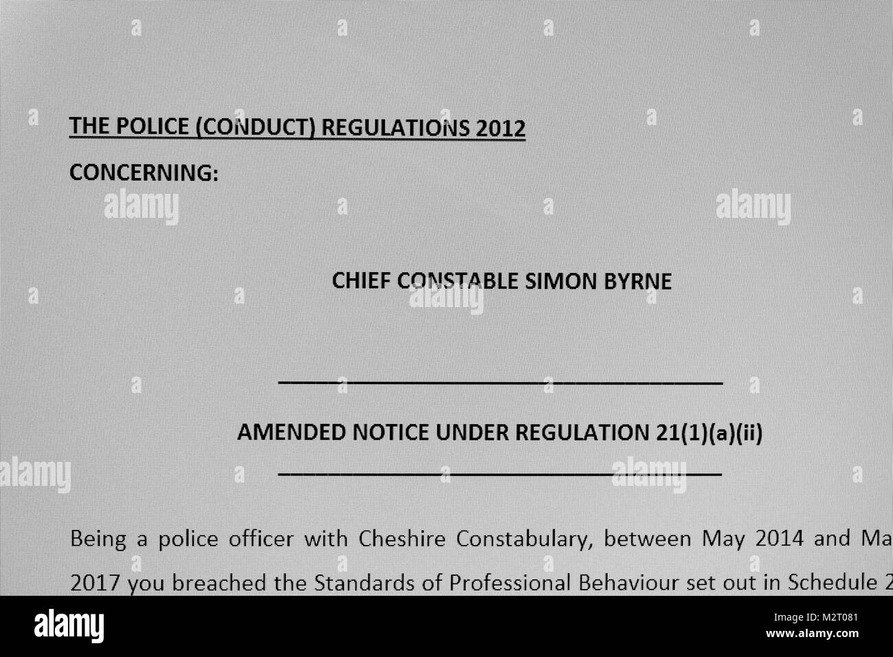 Cheshire, UK Cheshire Police Crime Commissioner David Keene publishes details of charges for Gross Misconduct Hearing Stock Photo