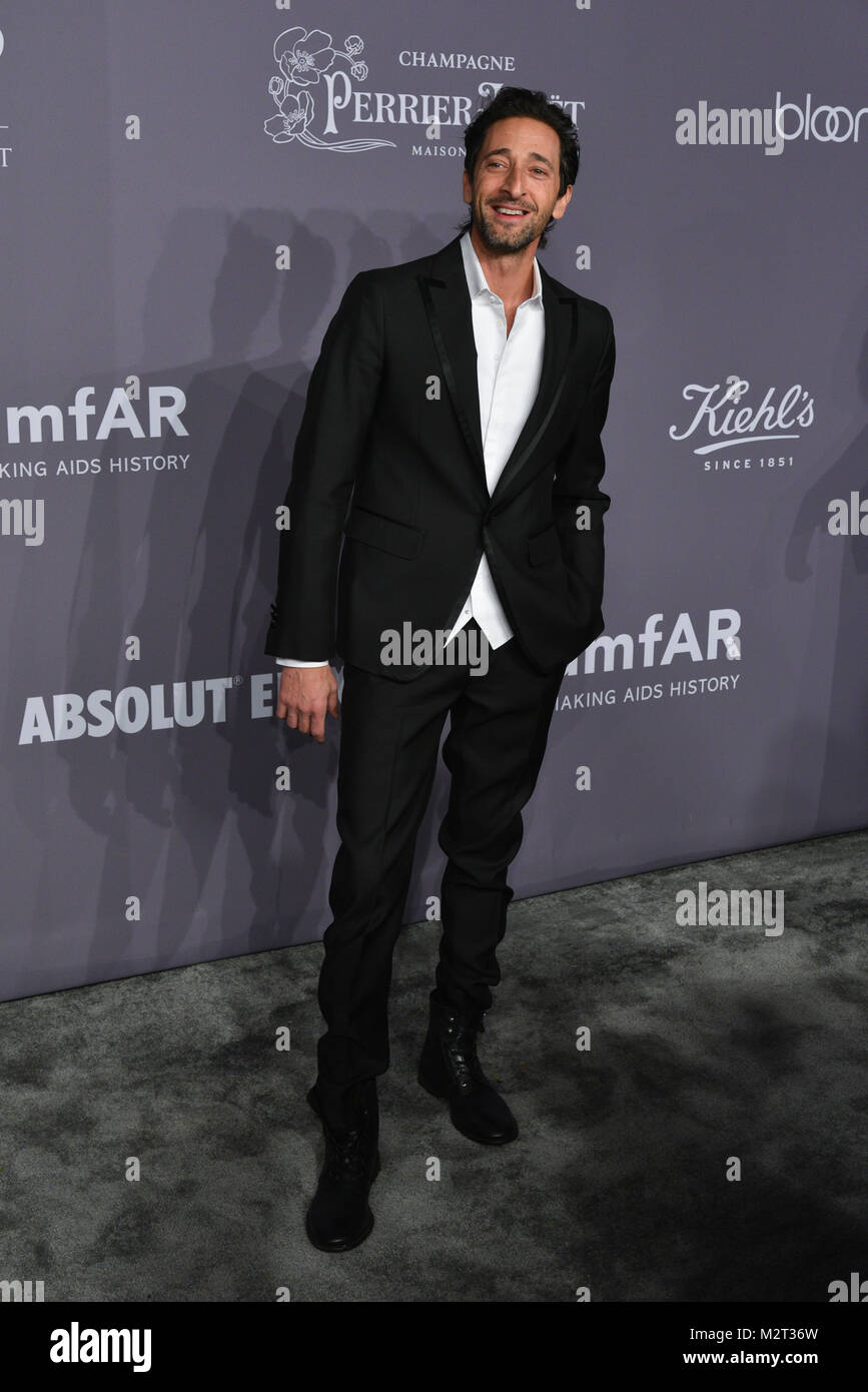 New York, USA. 7th Feb, 2018. Adrien Brody attends the 2018 amfAR Gala New York at Cipriani Wall Street on February - Stock Image