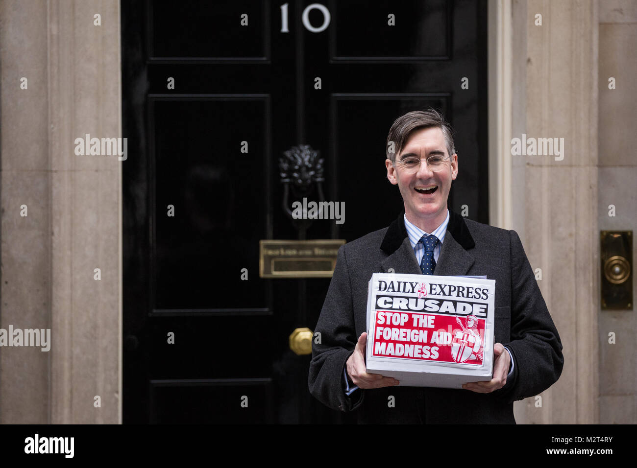 London, UK. 8th February, 2018. Jacob Rees-Mogg, Conservative MP for North East Somerset, stands outside 10 Downing - Stock Image