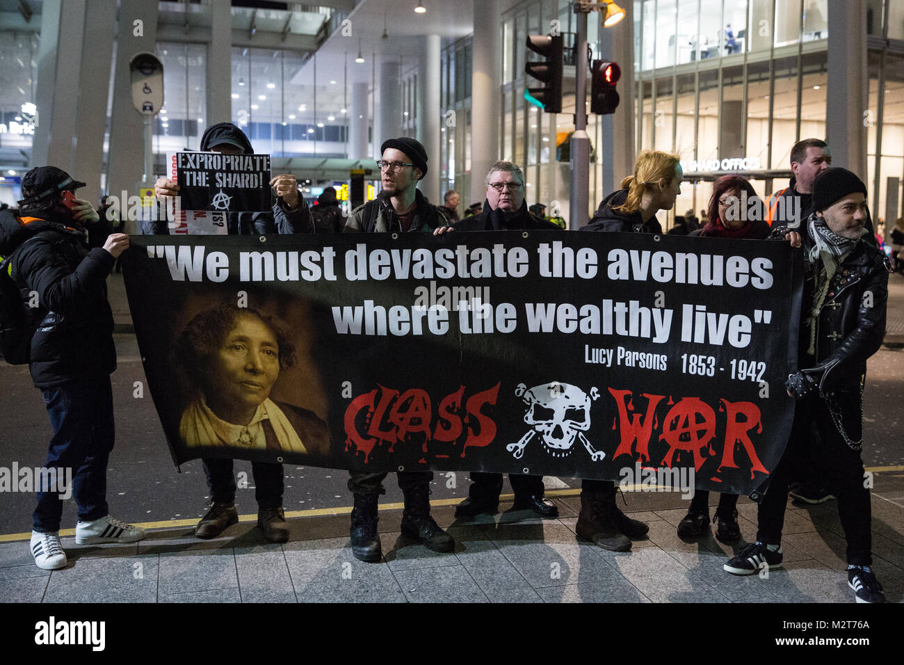 London, UK. 8th February, 2018. Supporters of Class War commence a weekly protest outside the Shard after it was - Stock Image