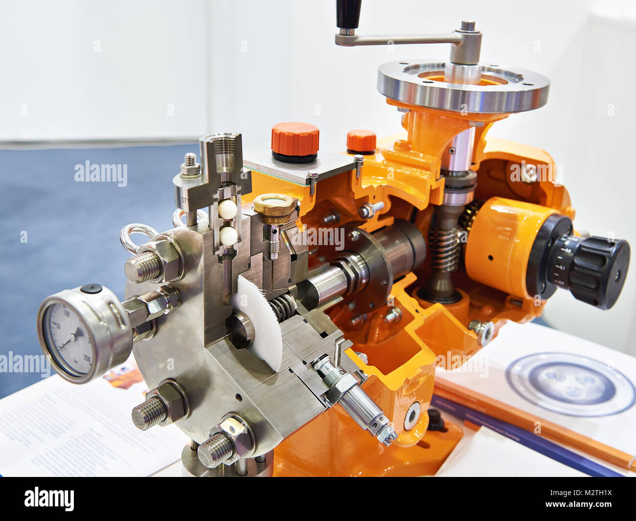 Hydraulic Diaphragm Metering Pump in section - Stock Image