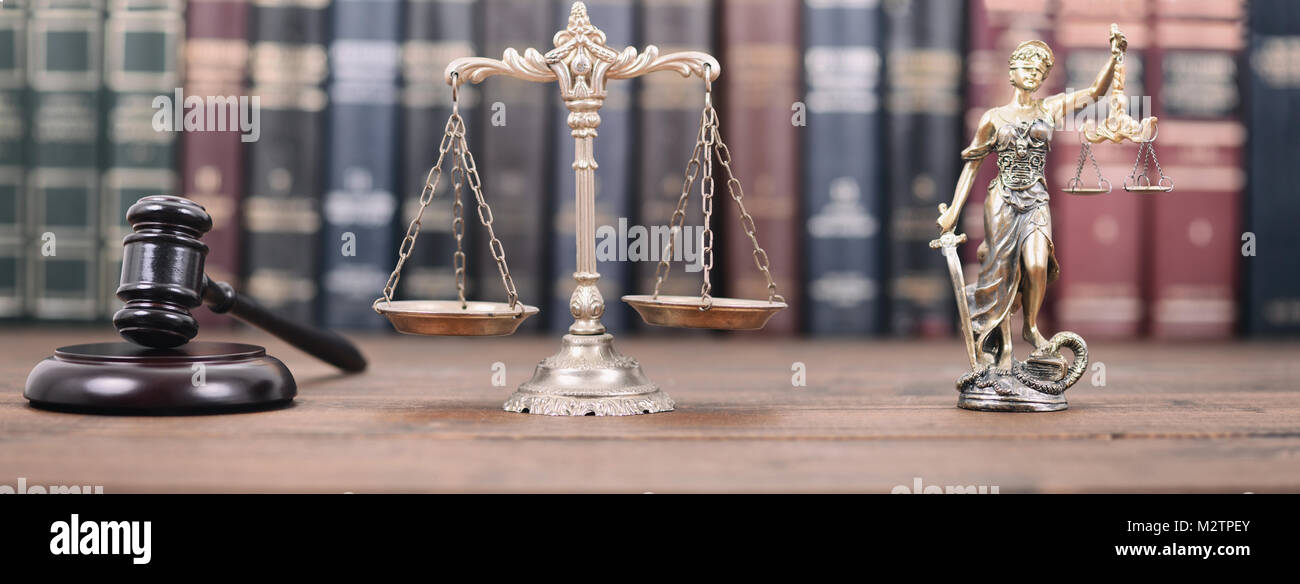 Law and Justice, Legality concept, Lady Justice, Scales of Justice and Judge Gavel on a wooden background, Law library - Stock Image