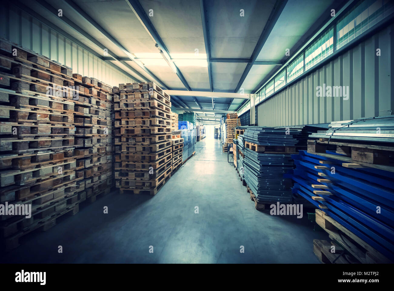 Warehouse Interior With Pallets   Stock Image