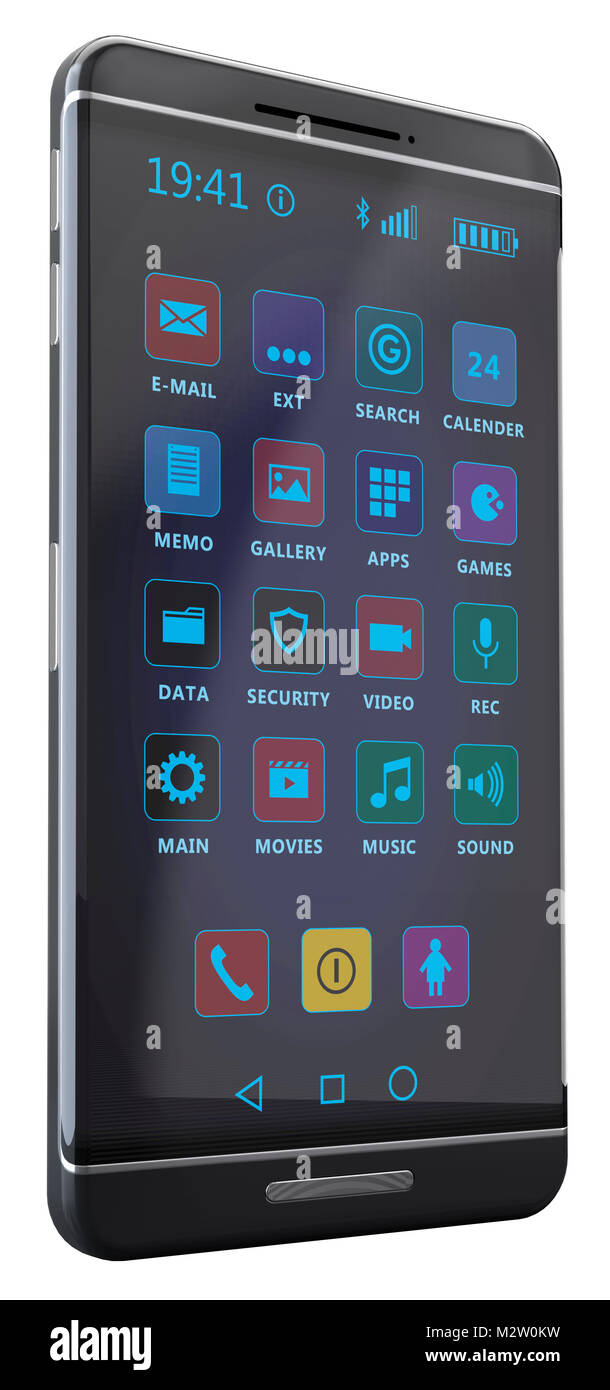 Generic Smartphone without mark, black-silver with generic icons on the display in front of white released - Stock Image