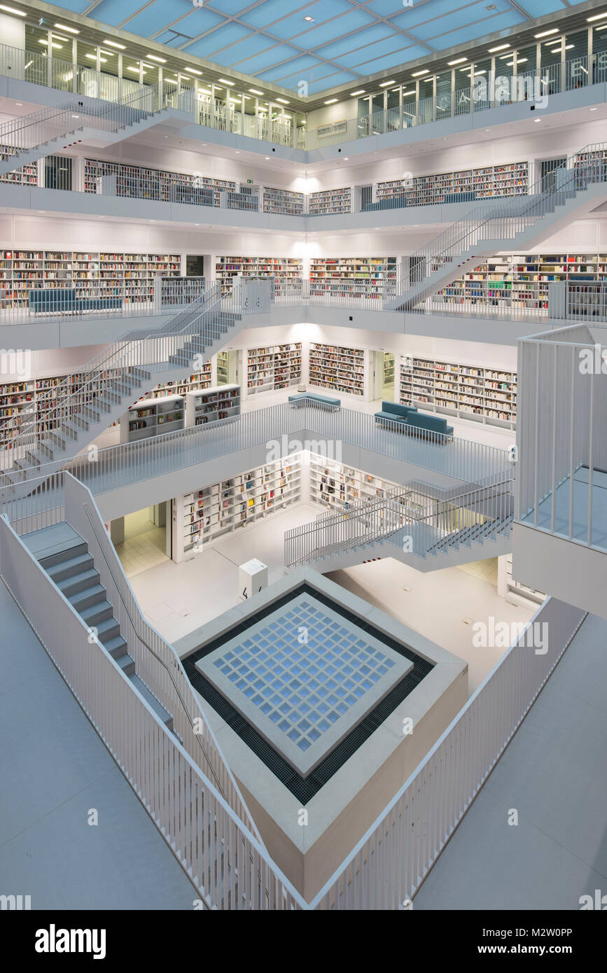 balcony hall with staircases and View into the so-called heart of the town library, architects RKW Eun Young Yi, - Stock Image